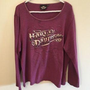 Plus Harley Davidson long sleeve purple top sz 2x